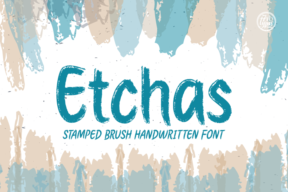 Etchas: a stamped brush handwritten font