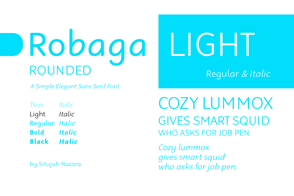 Robaga Rounded: Clean-smooth-rounded Sans Serif font