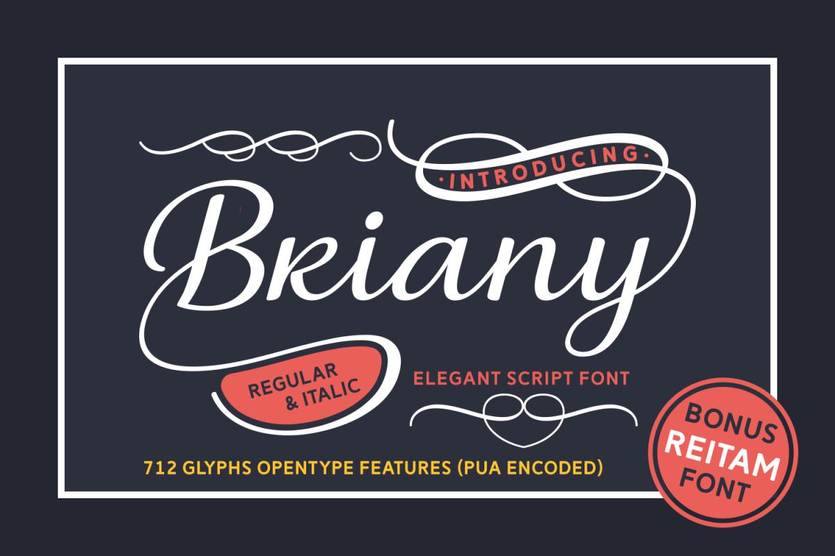 Briany: A gorgeous swashy script font